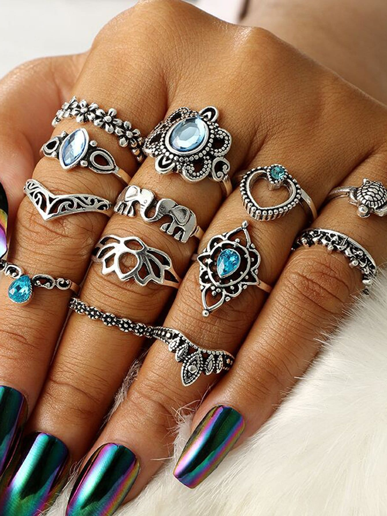 Vintage Ring Set 13pcs mit Tier