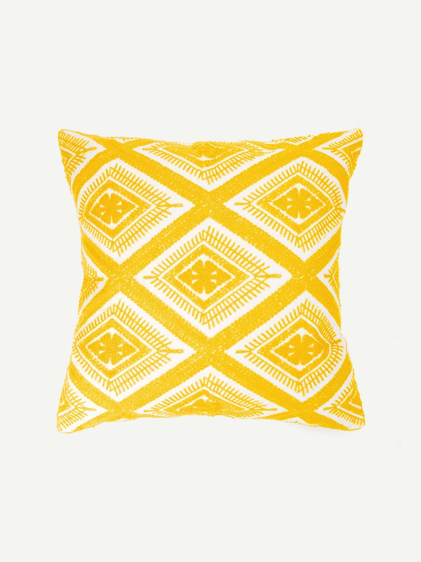 Купить Наволочка для подушки с вышивкой геометрия и цветы 1 шт, null, SheIn
