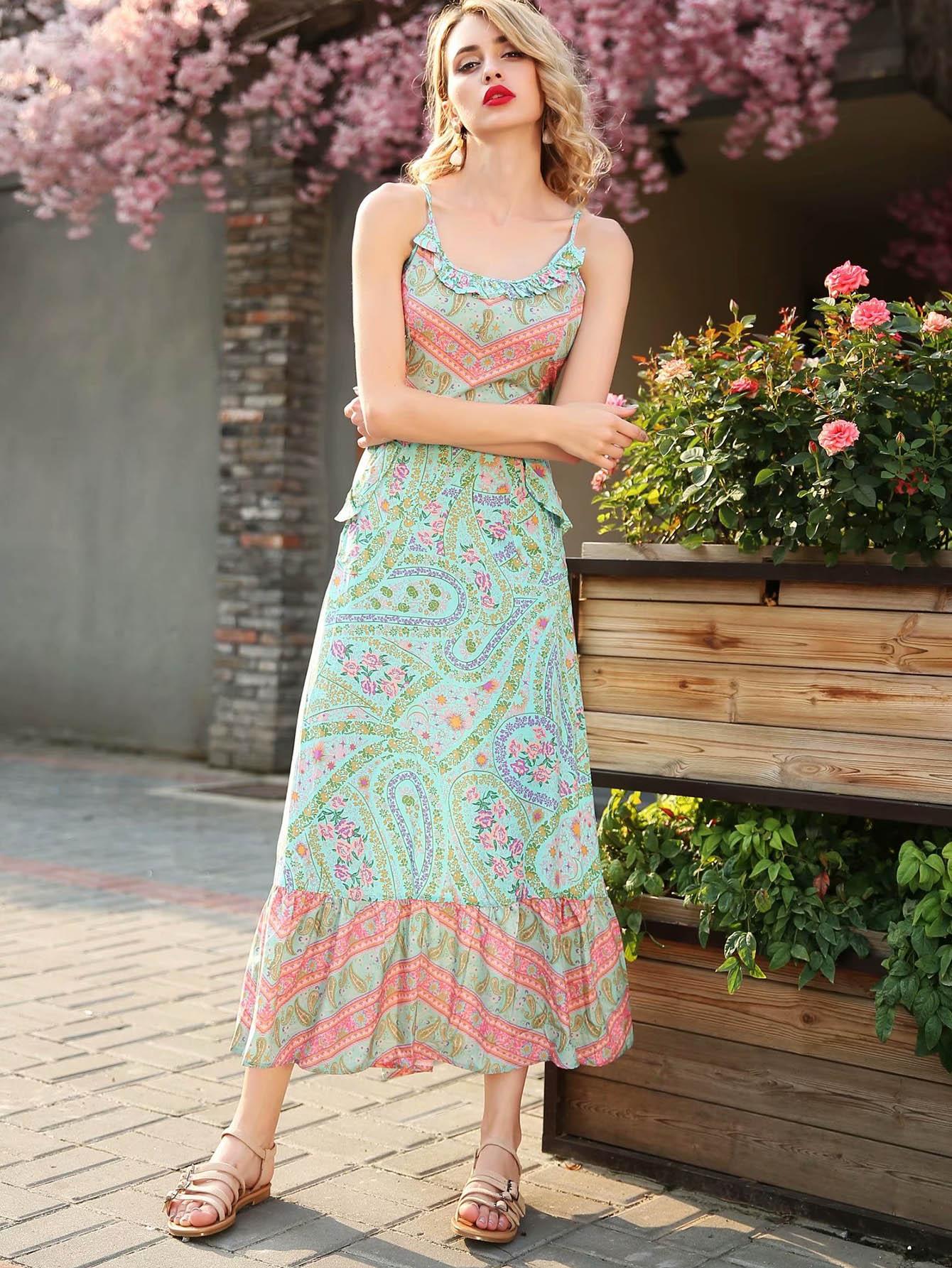 Calico Print Ruffle Hem Cami Dress calico print faux pearl detail cami dress