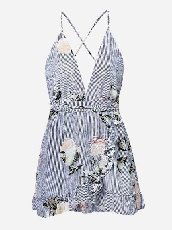 Ruffle Trim Open Back Overlap Dress ruffle trim overlap hem dress