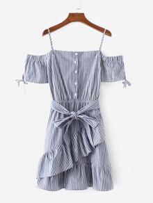 Vertical-Striped Ruffle Hem Belted Dress