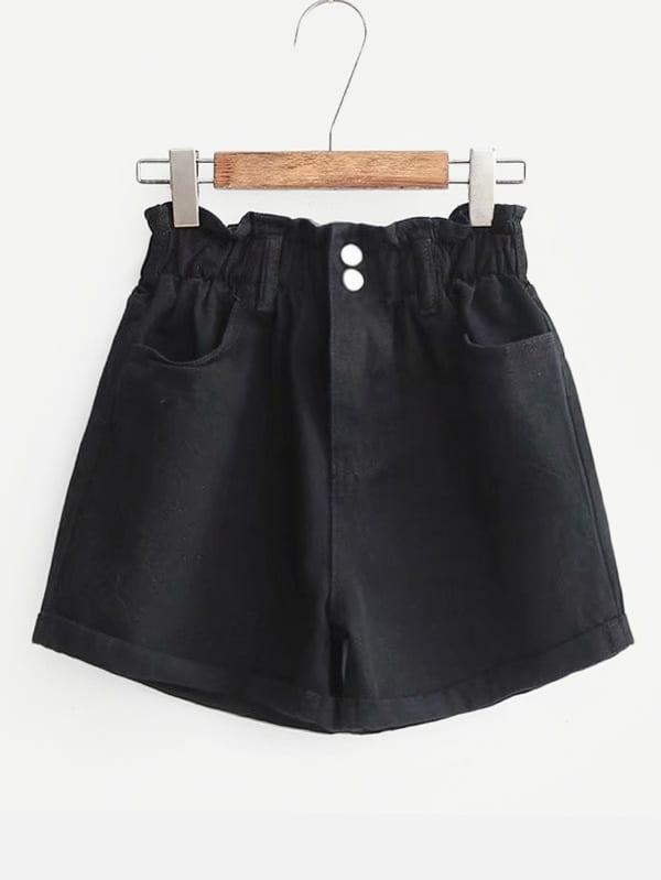 Frill Trim Cuffed Denim Shorts frill trim cuffed denim shorts