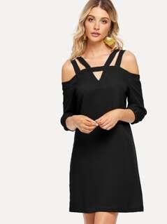 V Cut Neck Cold Shoulder Dress