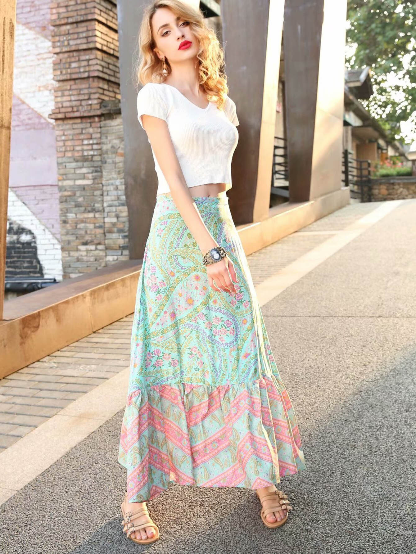 Calico Print Ruffle Hem Skirt tied v back ruffle hem calico top
