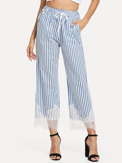 Drawstring Waist Eyelash Lace Hem Striped Pants