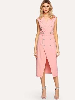 Double Button Split Dress