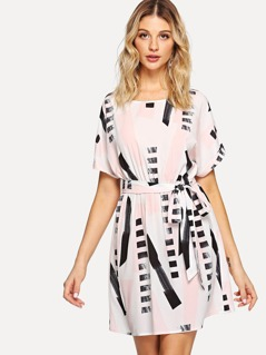 Rolled Up Sleeve Self Belted Dress
