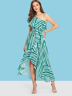 One Shoulder Self Belted Asymmetrical Hem Striped Dress