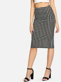 Split Back Plaid Pencil Skirt