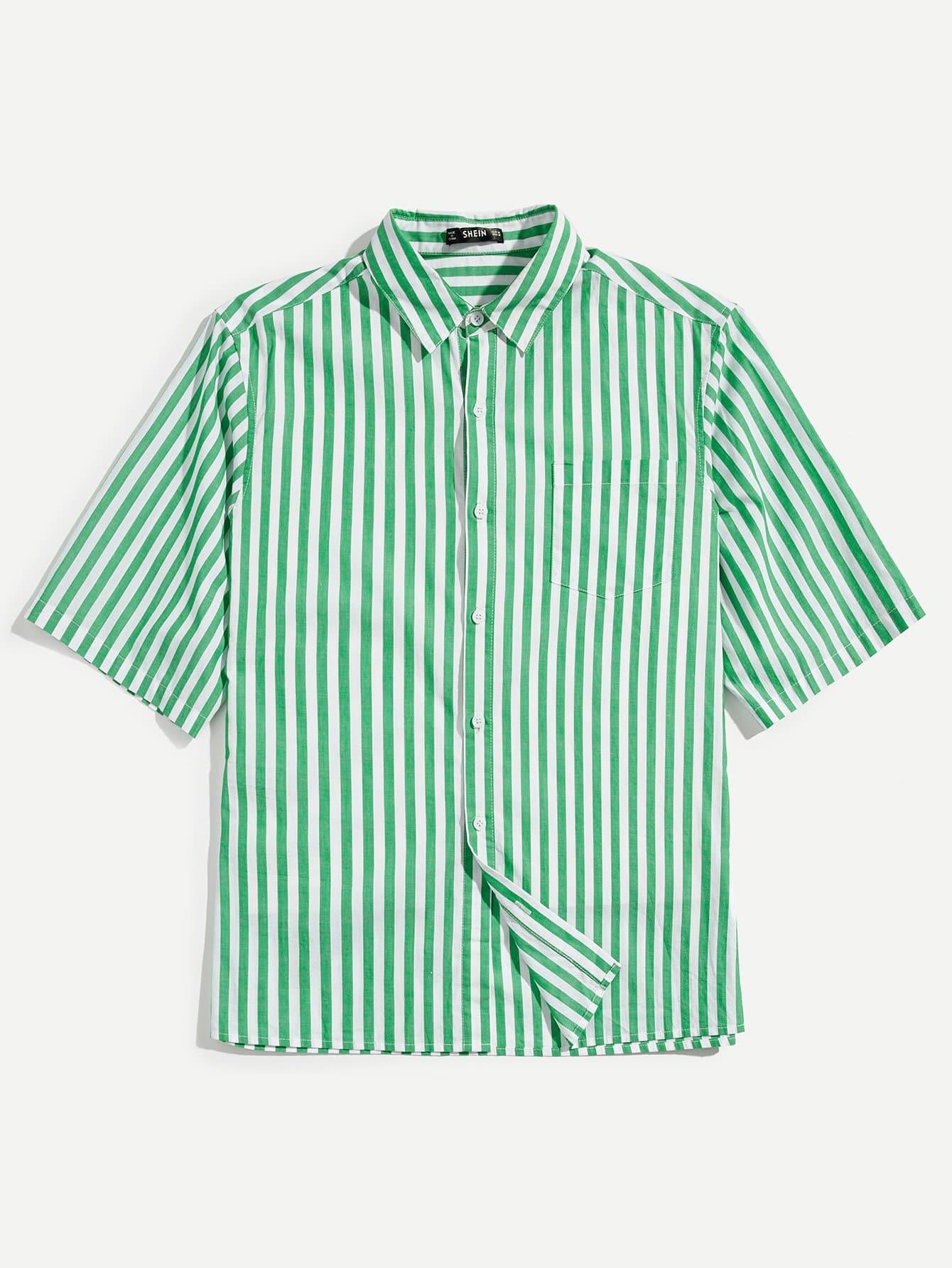 Men Button & Pocket Front Striped Top striped front pocket tank top