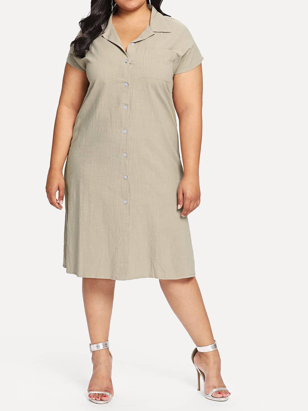 Купить Платье рубашка с разрезами, Carol, SheIn