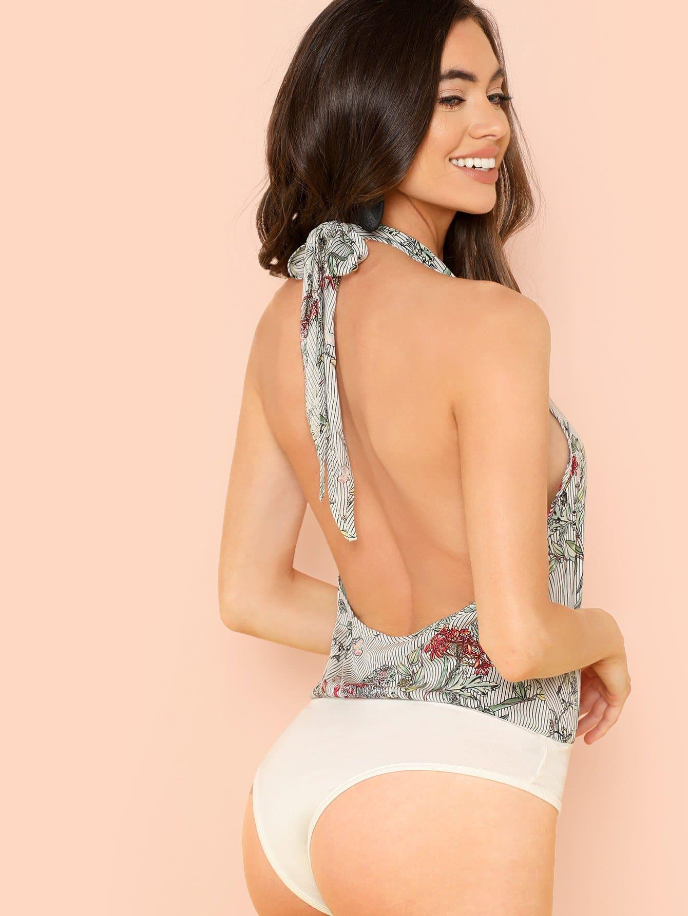 Floral Print Surplice Wrap Halter Bodysuit halter surplice floral print jumpsuit