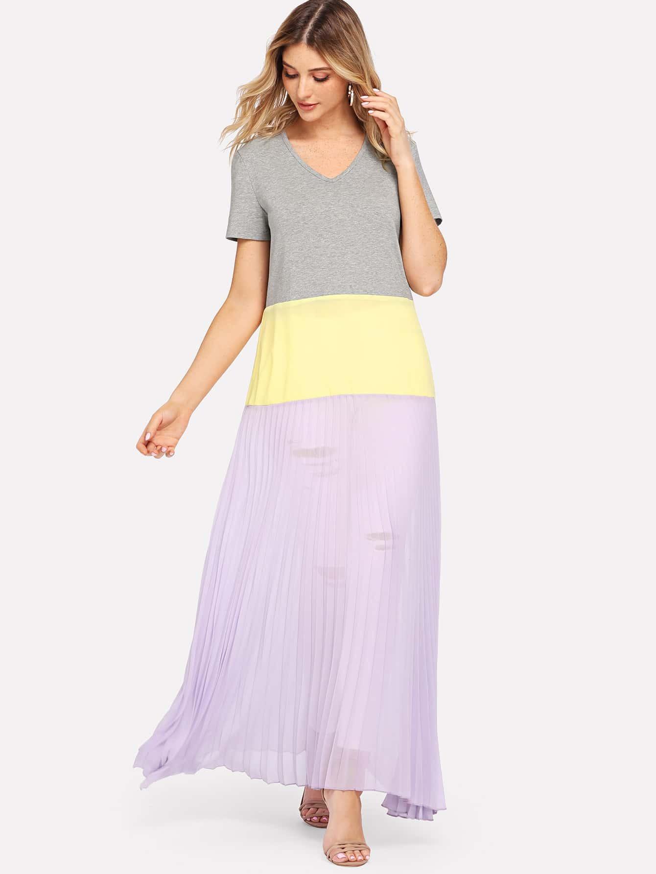 Cut And Sew Mixed Media Dress surplice neck mixed media dress