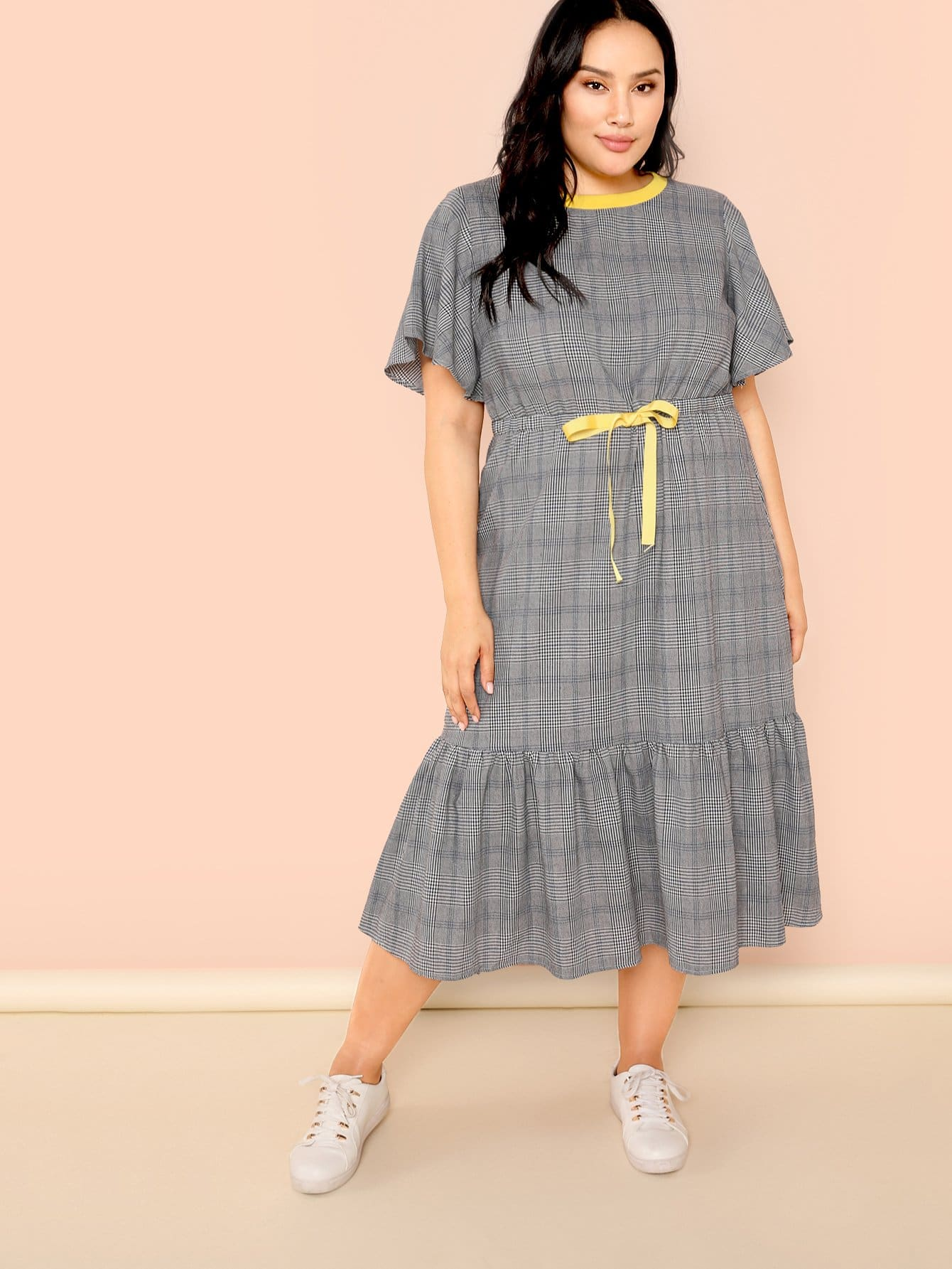 Flutter Sleeve Drawstring Waist Plaid Dress flutter sleeve elastic waist floral dress