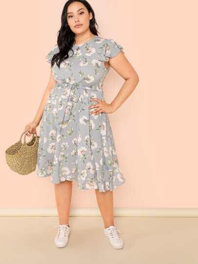 Plus Floral Print Self Belted Dress