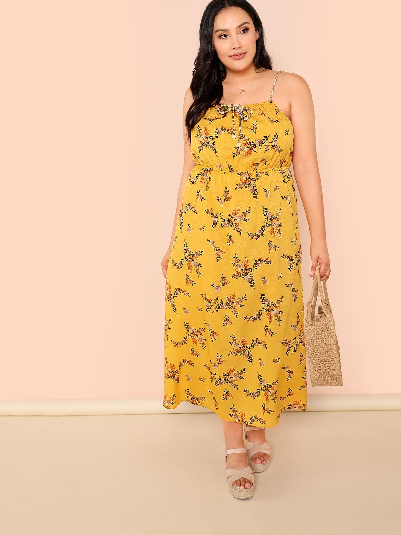 Calico Print Drawstring Cami Dress calico print faux pearl detail cami dress