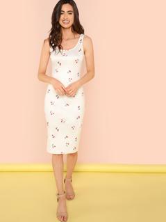 Flamingo Print Pencil Dress