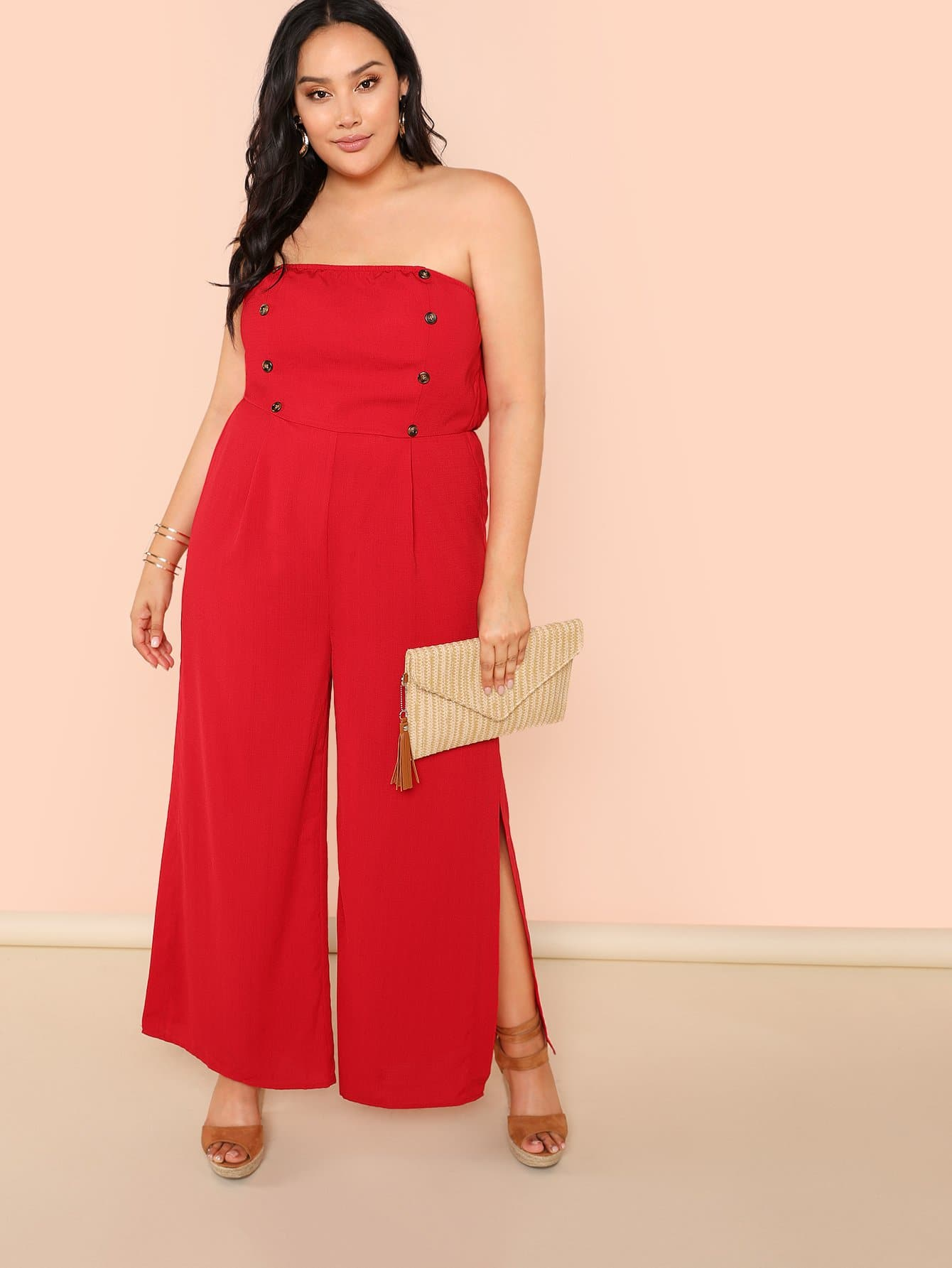 Double Button Front Slit Hem Strapless Jumpsuit fold over button front slit hem strap dress