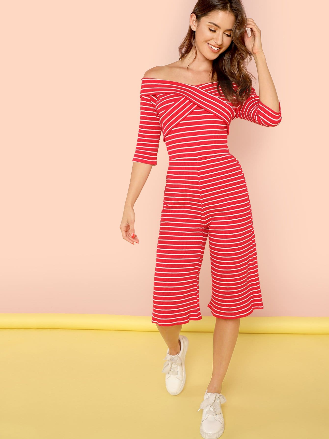Cross Wrap Wide Leg Striped Jumpsuit shirred panel wide leg striped jumpsuit
