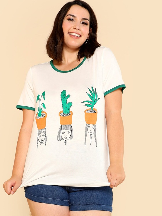 19b40a4339b5 Plus Cactus & Girl Print Ringer Tee | MakeMeChic.COM