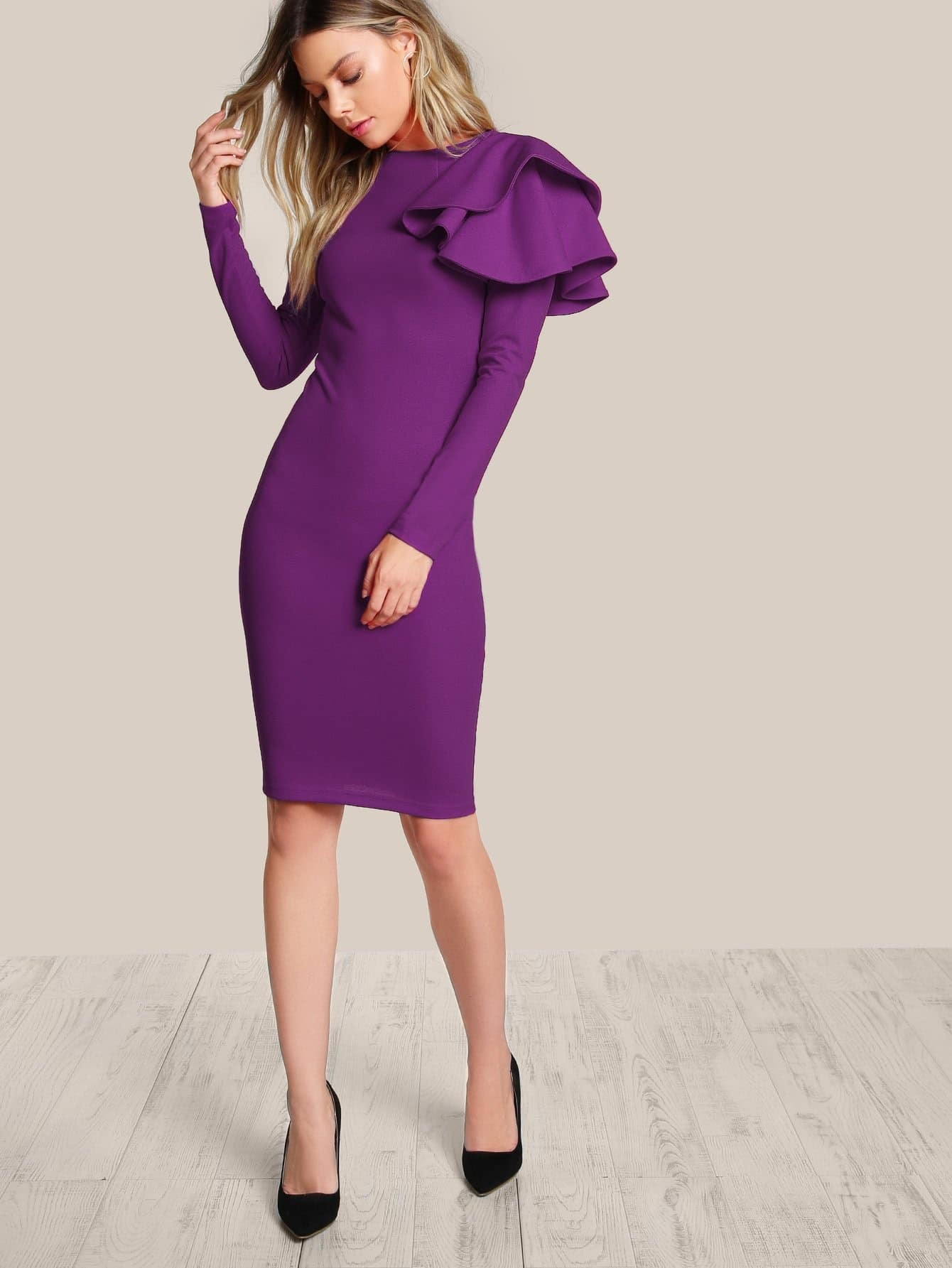 1d0126642b0 One Side Tiered Ruffle Bodycon Dress