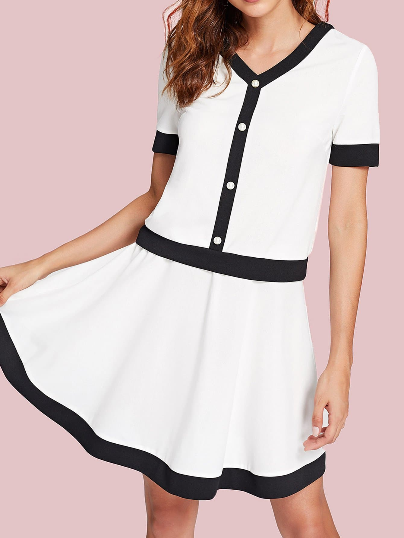 Two Tone Pearl Button Top & Skirt Set 2018 new casual dress sleeveless ruffles top striped skirt suit knitted sweater button two piece women s set party dresses