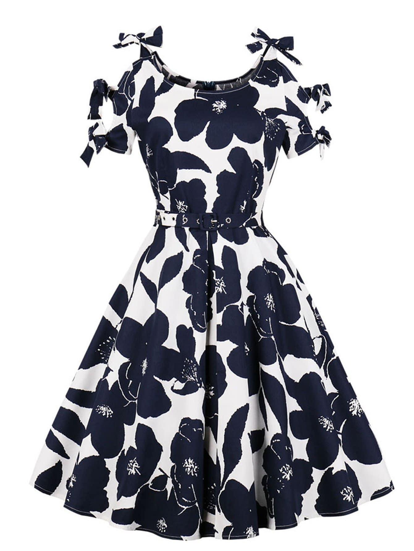 Floral Print Bow Tie Detail Dress