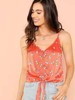 Cherry Print Knotted Cami Top