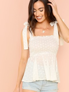 Tied Thick Strap Frilled Smock Top