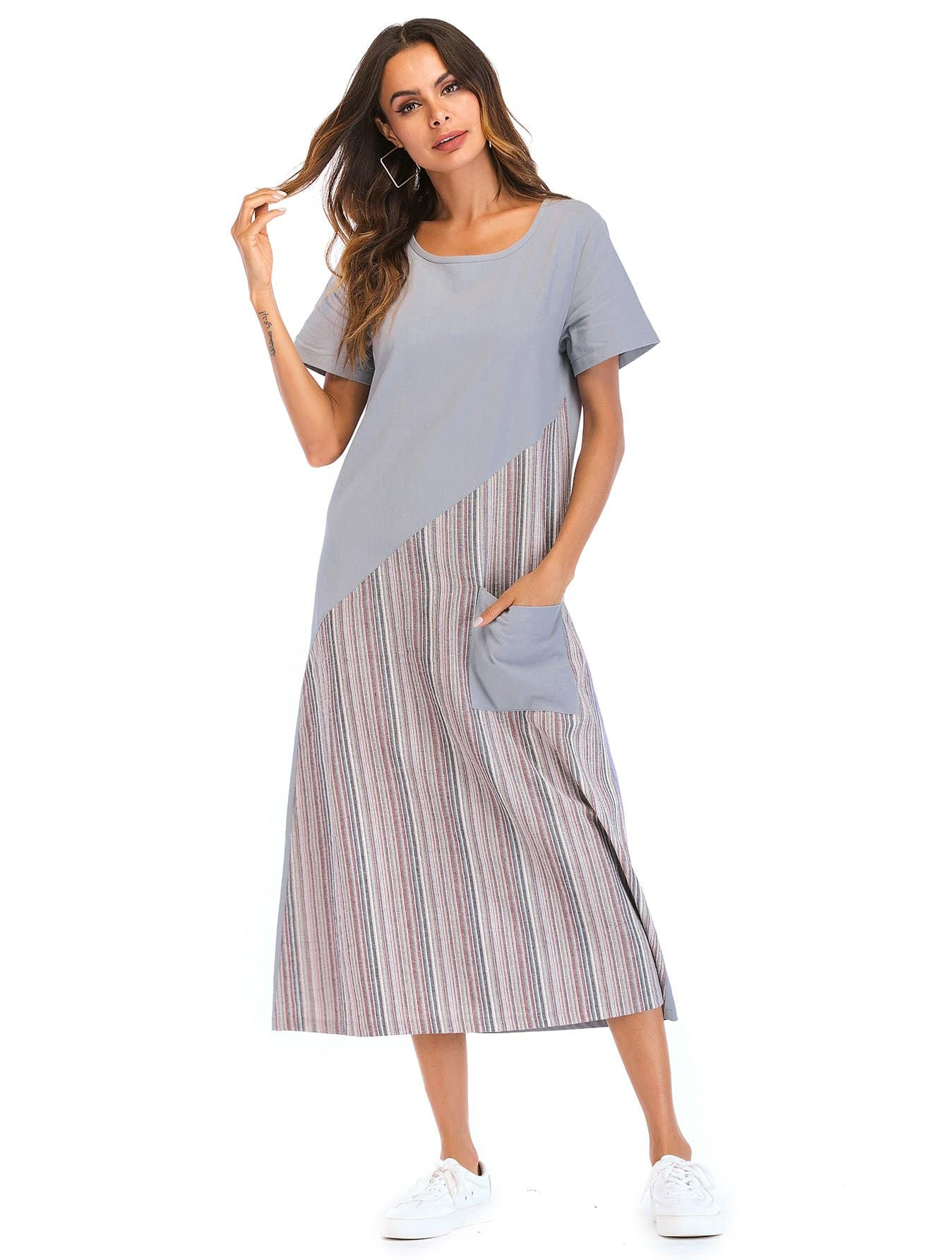 Stripe Contrast Pocket Front Longline Dress contrast collar foldover front dress