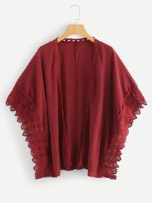 Lace Panel Trim Kimono