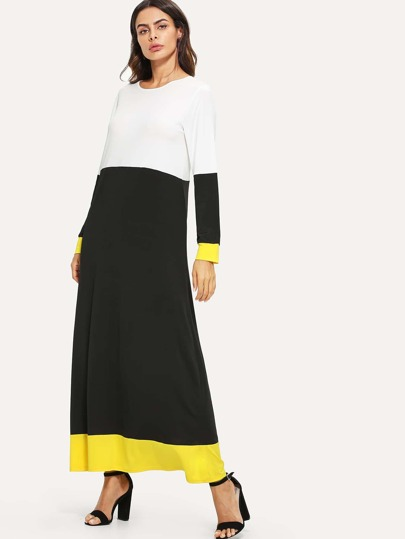 Romwe / Color Block Longline Dress
