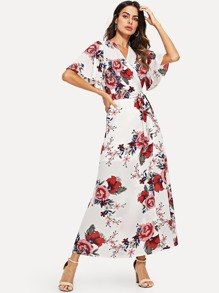 Surplice Wrap Self Tie Floral Print Dress