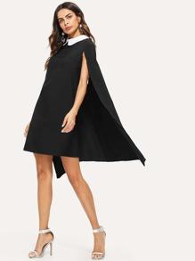 Contrast Collar Cape Dress