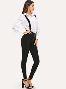 Zip Front Suspender Jumpsuit