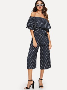 Dot Print Layered Flounce Self Tie Jumpsuit
