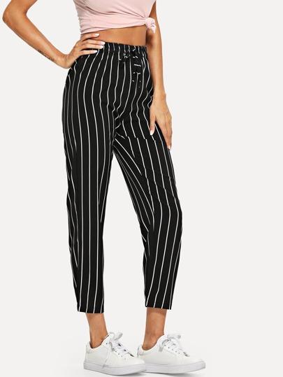 d609a90f09 Tie Waist Striped Pants | SHEIN