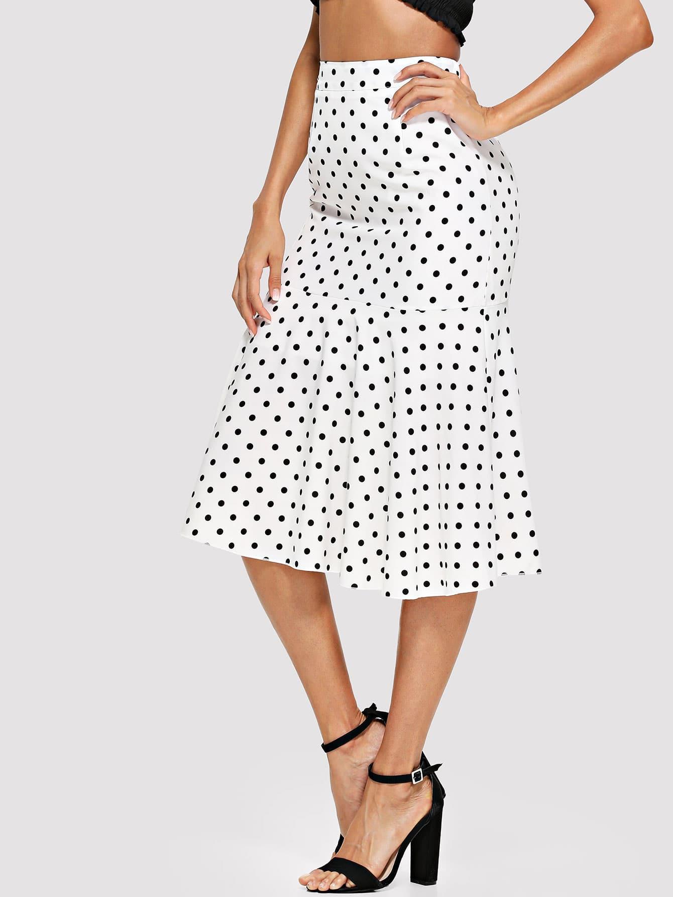 Купить Печатная юбка из польки с гофрированным краем, Andy, SheIn