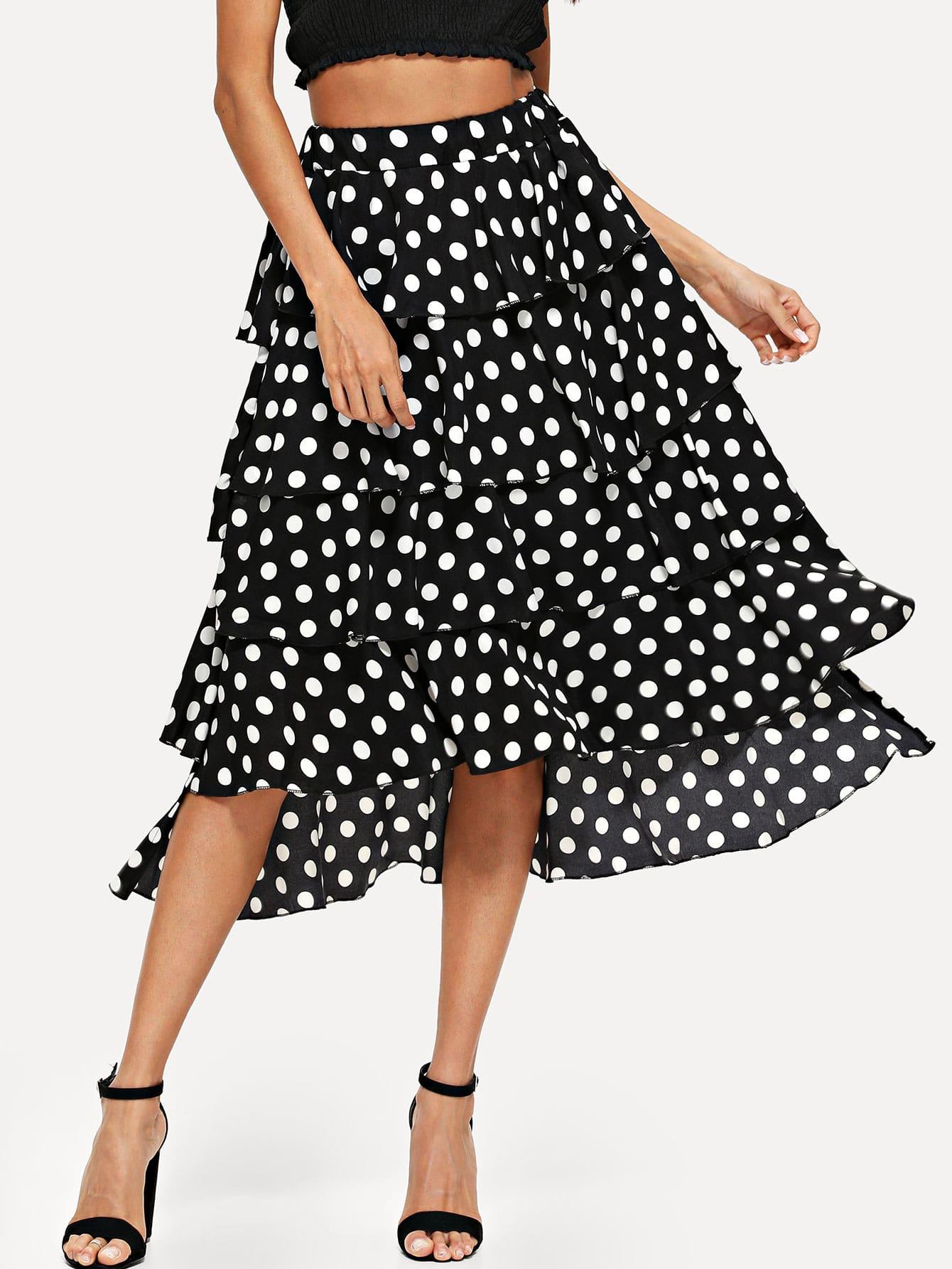 Dot Print Tiered Skirt