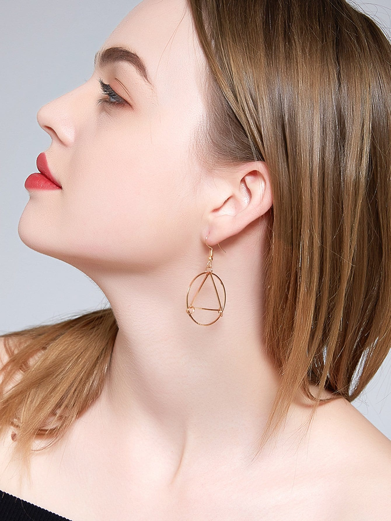 Circle & Open Triangle Design Hoop Drop Earrings