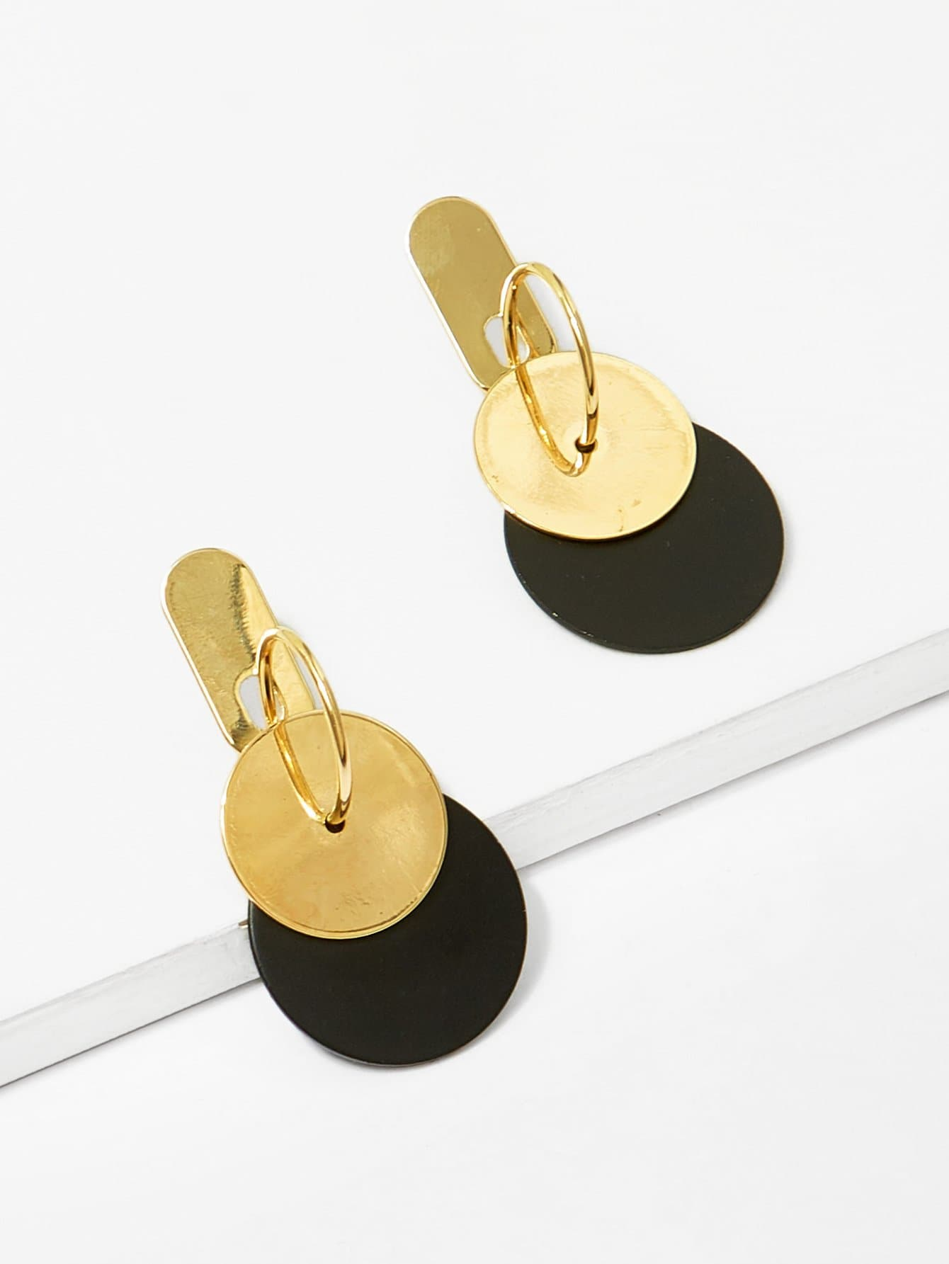 Double Flat Disc Decorated Hoop Earrings
