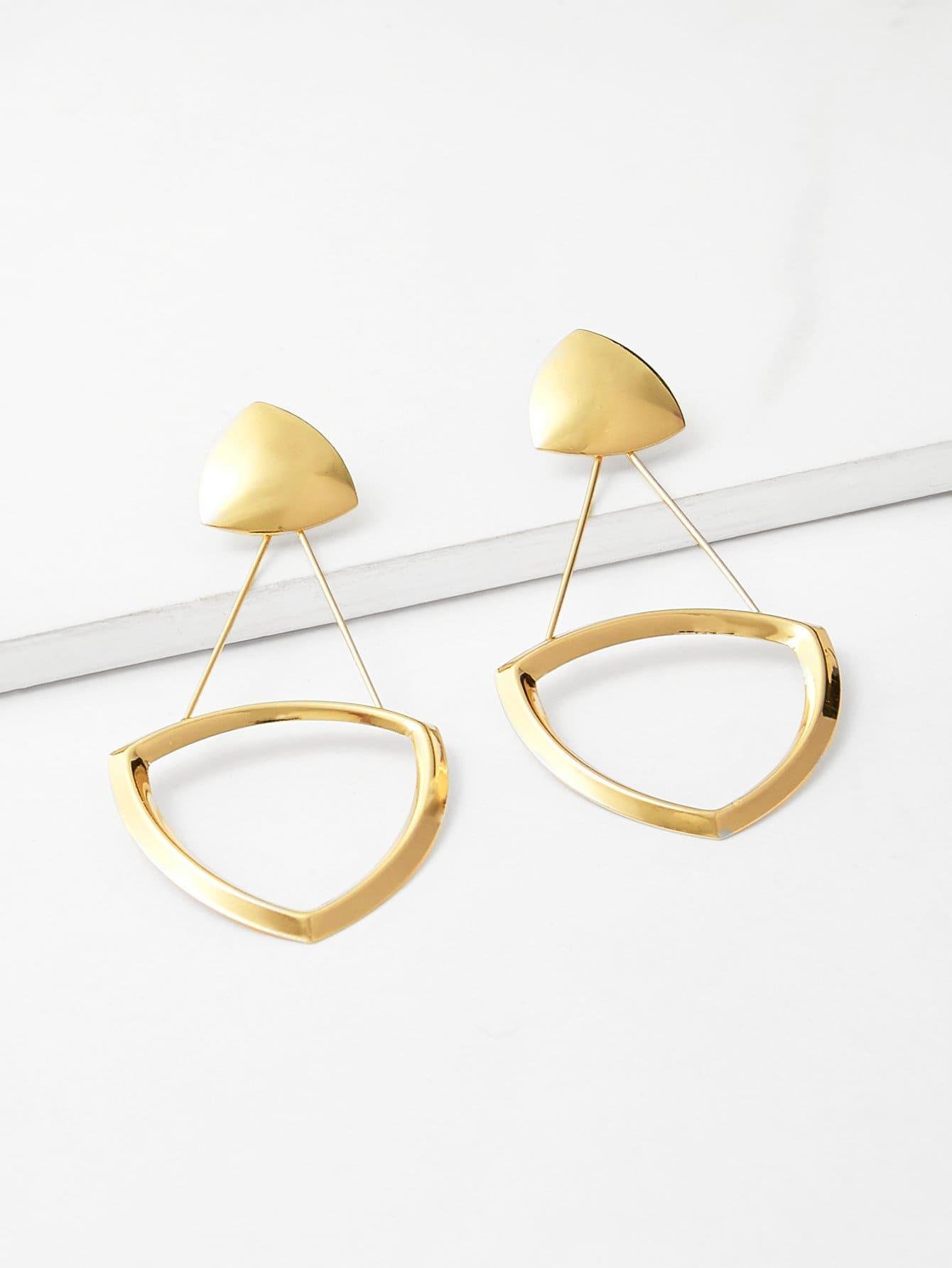 Open Triangle & Bar Detail Drop Earrings silver plated bar dangle drop earrings