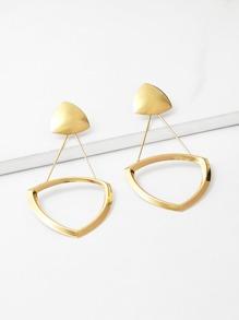 Open Triangle & Bar Detail Drop Earrings
