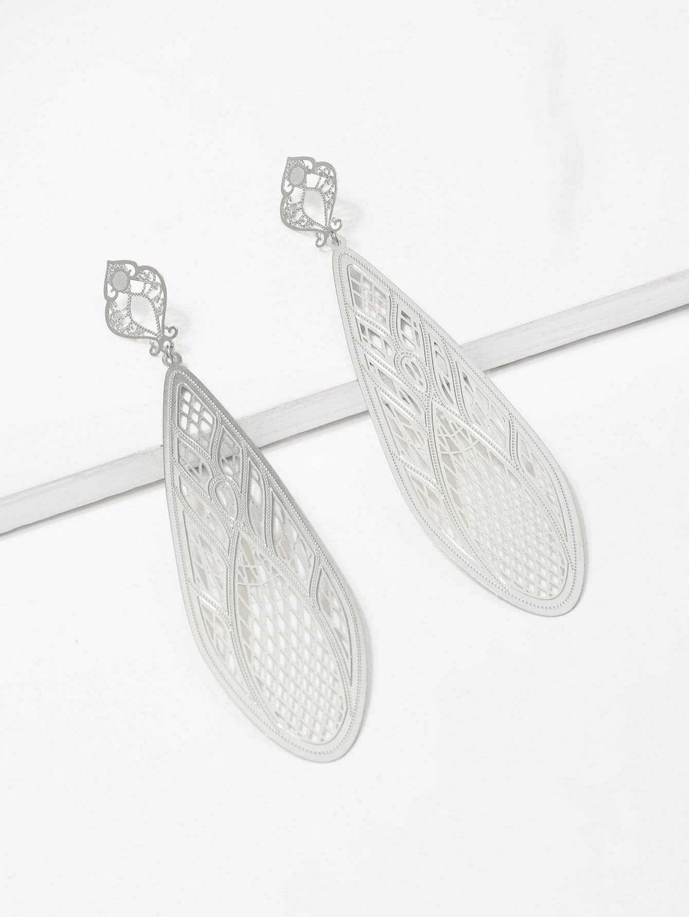 Hollow Design Waterdrop Statement Earrings цена