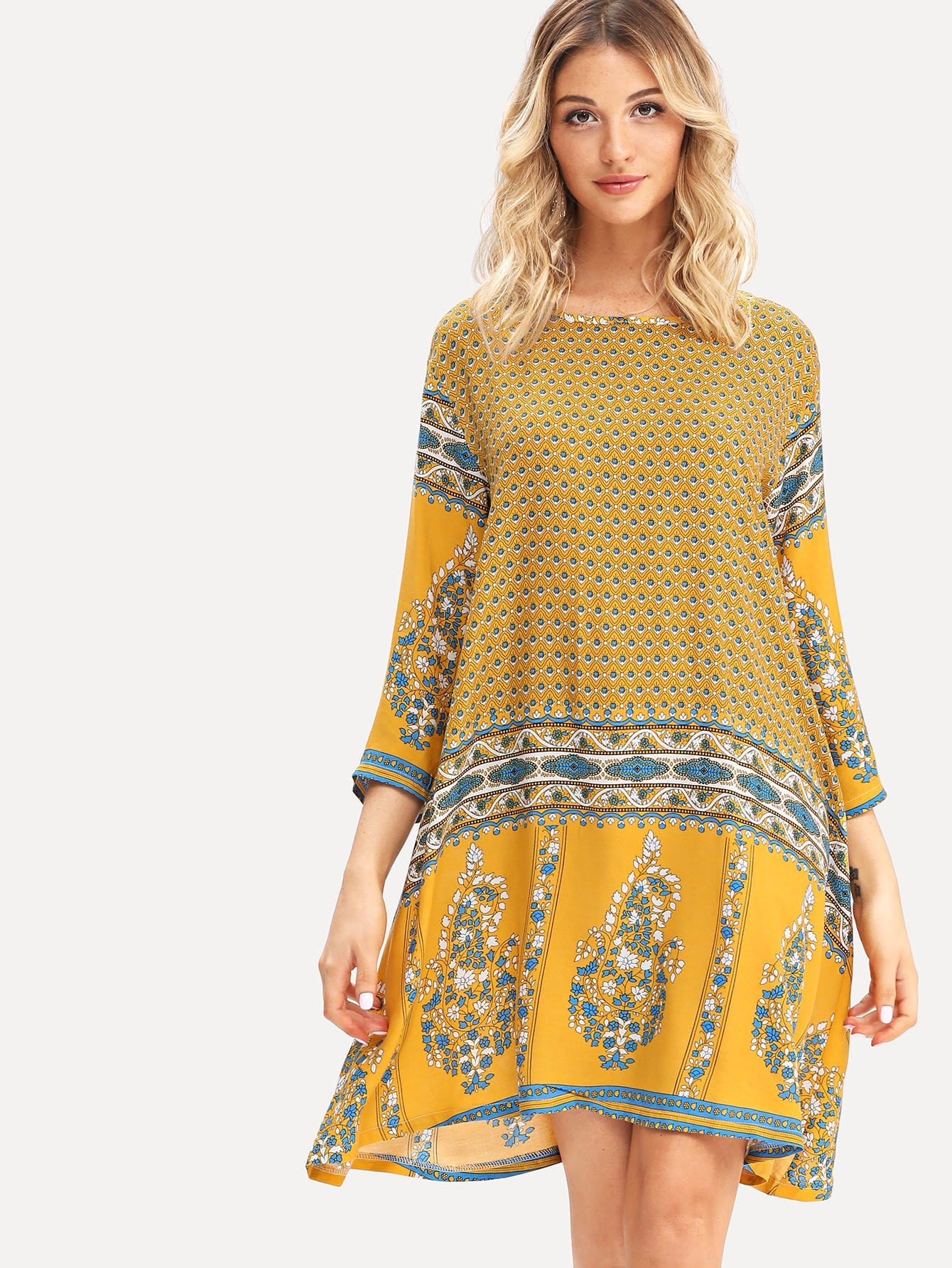 Round Neck Tribal Floral Dress