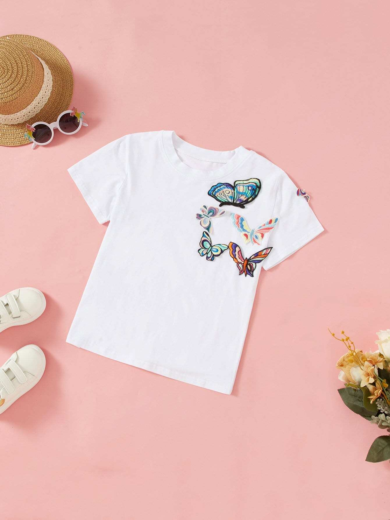 Butterfly Embroidered Appliques Tee butterfly embroidered tee