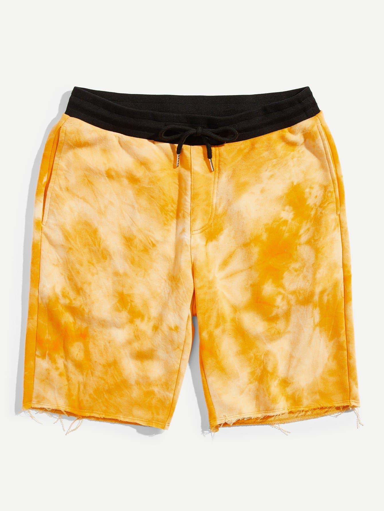 Men Contrast Waist Raw Hem Tie Dye Shorts gstar raw d01979 7999 8177