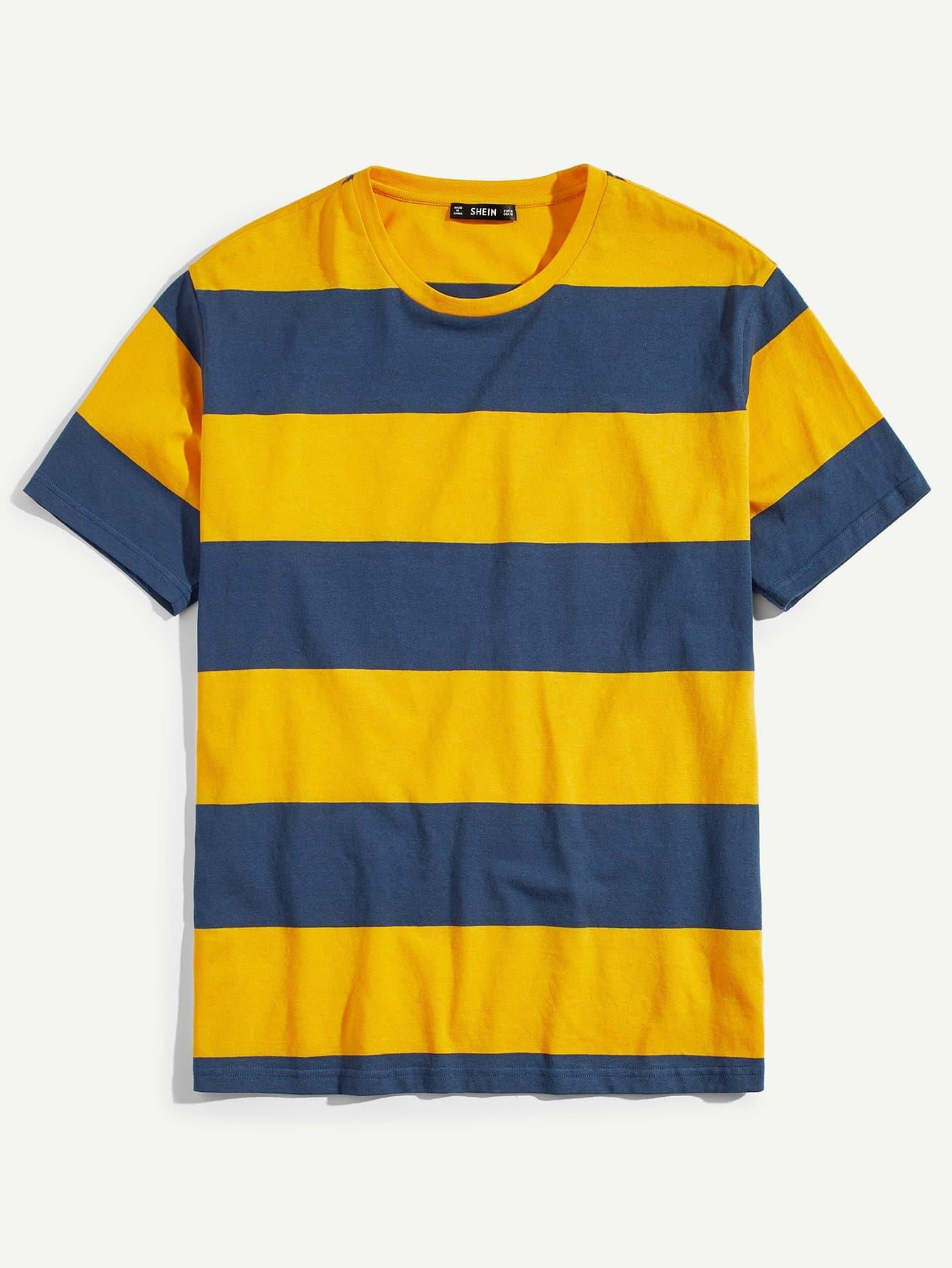 Купить Мужская футболка с двумя тонами с широкой полосой, null, SheIn