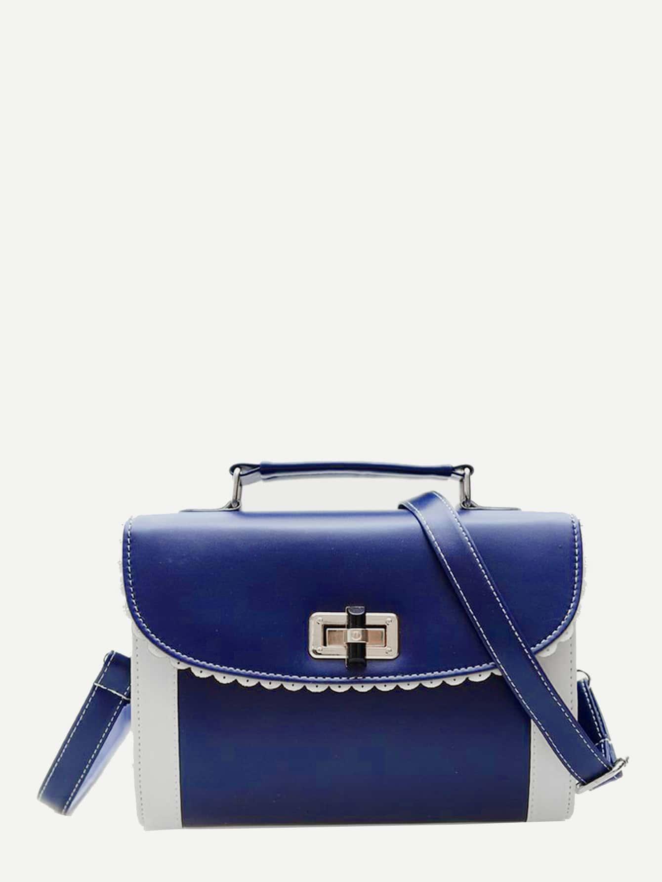 Two Tone Detail Twist Lock Crossbody Bag two tone detail buckle chain bag