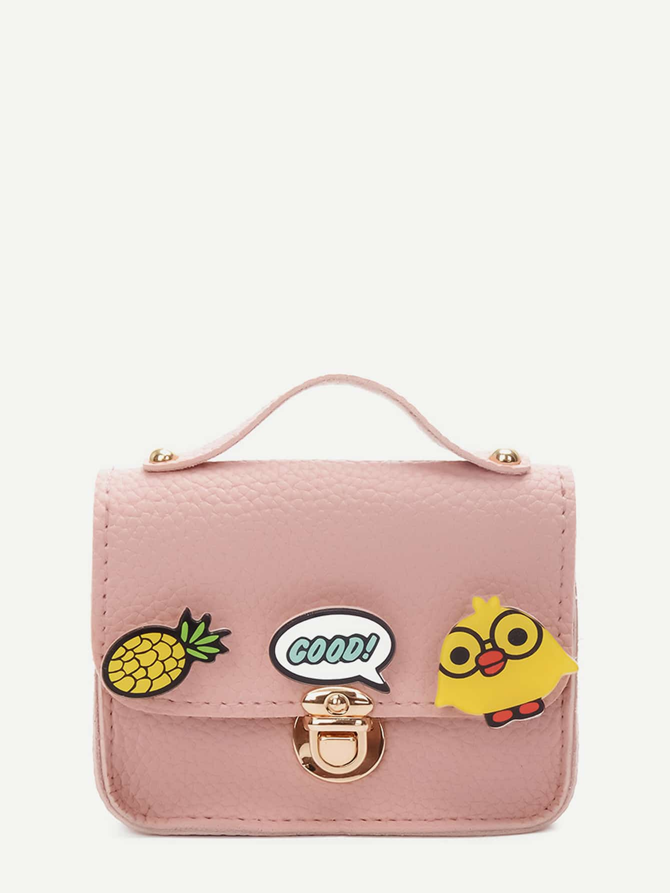 Купить Push Lock Detail Cartoon Chain Bag, null, SheIn